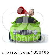 Clipart Of A 3d Young White Business Man Using A Megaphone And Driving A Green Convertible Car Royalty Free Illustration