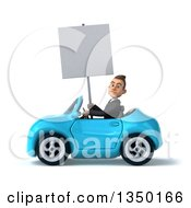 Clipart Of A 3d Young White Business Man Holding A Blank Sign And Driving A Blue Convertible Car To The Left Royalty Free Illustration