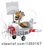Clipart Of A 3d Arabian Camel Aviator Pilot Wearing Sunglasses Holding A Blank Sign And Flying A White And Red Airplane To The Left Royalty Free Illustration