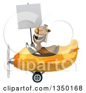Clipart Of A 3d Arabian Camel Aviator Pilot Holding A Blank Sign And Flying A Yellow Airplane To The Left Royalty Free Illustration
