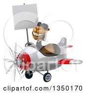 Clipart Of A 3d Arabian Business Camel Aviator Pilot Wearing Sunglasses Holding A Blank Sign And Flying A White And Red Airplane To The Left Royalty Free Illustration