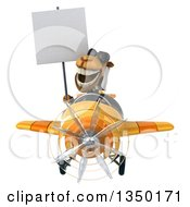 Clipart Of A 3d Arabian Business Camel Aviator Pilot Wearing Sunglasses Holding A Blank Sign And Flying A Yellow And Orange Airplane Royalty Free Illustration