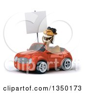 Clipart Of A 3d Arabian Camel Wearing Sunglasses Holding A Blank Sign And Driving An Orange Convertible Car To The Left Royalty Free Illustration