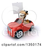 Clipart Of A 3d Arabian Camel Wearing Sunglasses Holding A Blank Sign And Driving A Red Convertible Car To The Left Royalty Free Illustration