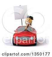 Clipart Of A 3d Arabian Business Camel Wearing Sunglasses Holding A Blank Sign And Driving A Red Convertible Car Royalty Free Illustration by Julos