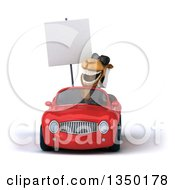 Clipart Of A 3d Arabian Business Camel Wearing Sunglasses Holding A Blank Sign And Driving A Red Convertible Car Royalty Free Illustration