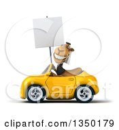 Clipart Of A 3d Arabian Business Camel Holding A Blank Sign And Driving A Yellow Convertible Car To The Left Royalty Free Illustration