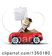 Clipart Of A 3d Arabian Business Camel Wearing Sunglasses Holding A Blank Sign And Driving A Red Convertible Car To The Left Royalty Free Illustration by Julos