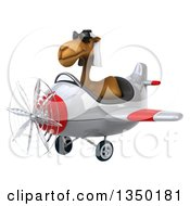 Clipart Of A 3d Arabian Camel Aviator Pilot Wearing Sunglasses And Flying A White And Red Airplane To The Left Royalty Free Illustration by Julos