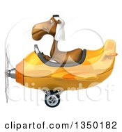 Clipart Of A 3d Arabian Camel Aviator Pilot Flying A Yellow Airplane To The Left Royalty Free Illustration by Julos