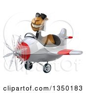 Clipart Of A 3d Arabian Business Camel Aviator Pilot Wearing Sunglasses And Flying A White And Red Airplane To The Left Royalty Free Illustration by Julos