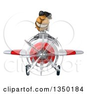 Clipart Of A 3d Arabian Business Camel Aviator Pilot Wearing Sunglasses And Flying A White And Red Airplane Royalty Free Illustration
