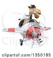 Clipart Of A 3d Arabian Business Camel Aviator Pilot Wearing Sunglasses And Flying A White And Red Airplane Royalty Free Illustration by Julos