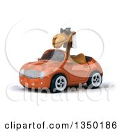 Clipart Of A 3d Arabian Camel Wearing Sunglasses And Driving An Orange Convertible Car To The Left Royalty Free Illustration by Julos