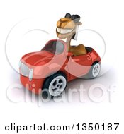 Clipart Of A 3d Arabian Camel Wearing Sunglasses And Driving A Red Convertible Car To The Left Royalty Free Illustration by Julos