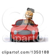 Clipart Of A 3d Arabian Camel Wearing Sunglasses And Driving A Red Convertible Car Royalty Free Illustration