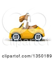 Clipart Of A 3d Arabian Camel Driving A Yellow Convertible Car To The Left Royalty Free Illustration