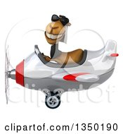 Clipart Of A 3d Arabian Business Camel Aviator Pilot Wearing Sunglasses And Flying A White And Red Airplane To The Left Royalty Free Illustration