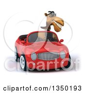 Clipart Of A 3d Arabian Business Camel Wearing Sunglasses And Driving A Red Convertible Car Royalty Free Illustration