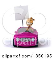 Clipart Of A 3d Camel Holding A Blank Sign And Driving A Pink Convertible Car Royalty Free Illustration