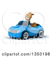Clipart Of A 3d Business Camel Driving A Blue Convertible Car To The Left Royalty Free Illustration by Julos