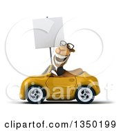 Clipart Of A 3d Bespectacled Business Camel Holding A Blank Sign And Driving A Yellow Convertible Car To The Left Royalty Free Illustration