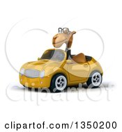 Clipart Of A 3d Bespectacled Business Camel Driving A Yellow Convertible Car To The Left Royalty Free Illustration