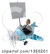 Clipart Of A 3d Young Black Businessman Aviator Pilot Holding A Blank Sign And Flying A Blue Airplane To The Left Royalty Free Illustration