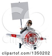 Clipart Of A 3d Young Black Businessman Aviator Pilot Wearing Sunglasses Holding A Blank Sign And Flying A White And Red Airplane Royalty Free Illustration