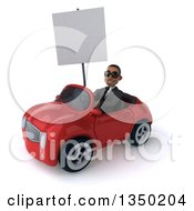 Clipart Of A 3d Young Black Businessman Wearing Sunglasses Holding A Blank Sign And Driving A Red Convertible Car To The Left Royalty Free Illustration