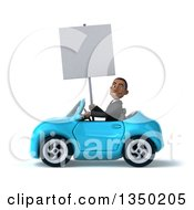 Clipart Of A 3d Young Black Businessman Holding A Blank Sign And Driving A Blue Convertible Car To The Left Royalty Free Illustration