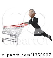 Clipart Of A 3d Young Black Businessman Flying With A Shopping Cart Royalty Free Illustration