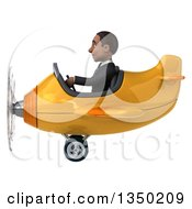 Clipart Of A 3d Young Black Businessman Aviator Pilot Flying A Yellow And Orange Airplane To The Left Royalty Free Illustration