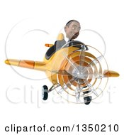 Clipart Of A 3d Young Black Businessman Aviator Pilot Flying A Yellow And Orange Airplane Royalty Free Illustration