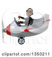 Clipart Of A 3d Young Black Businessman Aviator Pilot Wearing Sunglasses Giving A Thumb Down And Flying A White And Red Airplane To The Left Royalty Free Illustration