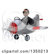 Clipart Of A 3d Young Black Businessman Aviator Pilot Wearing Sunglasses And Flying A White And Red Airplane To The Left Royalty Free Illustration