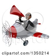 Clipart Of A 3d Young Black Businessman Aviator Pilot Wearing Sunglasses Using A Megaphone And Flying A White And Red Airplane To The Left Royalty Free Illustration