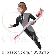 Clipart Of A 3d Young Black Businessman Presenting And Flying With A Giant Toothbrush Royalty Free Illustration by Julos