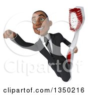 Clipart Of A 3d Young Black Businessman Flying With A Giant Toothbrush Royalty Free Illustration by Julos