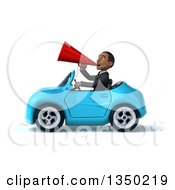 Clipart Of A 3d Young Black Businessman Using A Megaphone And Driving A Blue Convertible Car To The Left Royalty Free Illustration