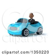 Clipart Of A 3d Young Black Businessman Driving A Blue Convertible Car To The Left Royalty Free Illustration