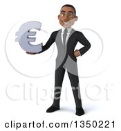 Clipart Of A 3d Young Black Businessman Holding A Euro Currency Symbol Royalty Free Illustration by Julos