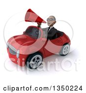 Clipart Of A 3d Young Black Businessman Wearing Sunglasses Using A Megaphone And Driving A Red Convertible Car To The Left Royalty Free Illustration