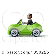 Clipart Of A 3d Young Black Businessman Driving A Green Convertible Car To The Left Royalty Free Illustration