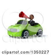 Clipart Of A 3d Young Black Businessman Using A Megaphone And Driving A Green Convertible Car To The Left Royalty Free Illustration