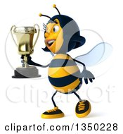 Clipart Of A 3d Female Bee Holding A Trophy And Walking To The Left Royalty Free Illustration