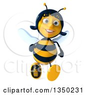 Clipart Of A 3d Female Bee Running Royalty Free Illustration