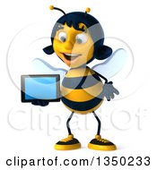 Clipart Of A 3d Female Bee Holding A Tablet Computer Royalty Free Illustration