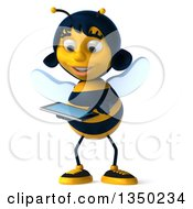 Clipart Of A 3d Female Bee Using A Touch Screen A Tablet Computer Royalty Free Illustration