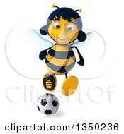 Clipart Of A 3d Female Bee Playing Soccer Royalty Free Illustration